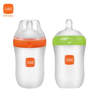 新一代矽膠奶瓶 240毫升配超寬口奶嘴 (橙 / 綠)