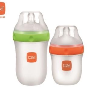 新一代矽膠奶瓶160毫升(橙色)及240毫升(綠色) 配超寬口奶嘴 奶瓶 2 個裝