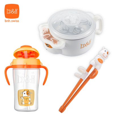 小童餐具套裝- 保温注水碗, 學習筷子 & 學習杯 (小牛)